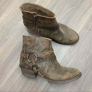 Circle G Leather Harness South Western Booties 7.5